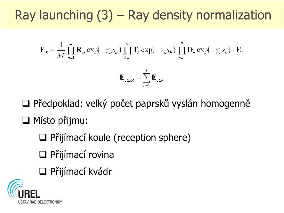 Ray launching (3) – Ray density normalization  Předpoklad: velký počet paprsků vyslán homogenně  Místo přijmu:  Přijímací koule (reception sphere)