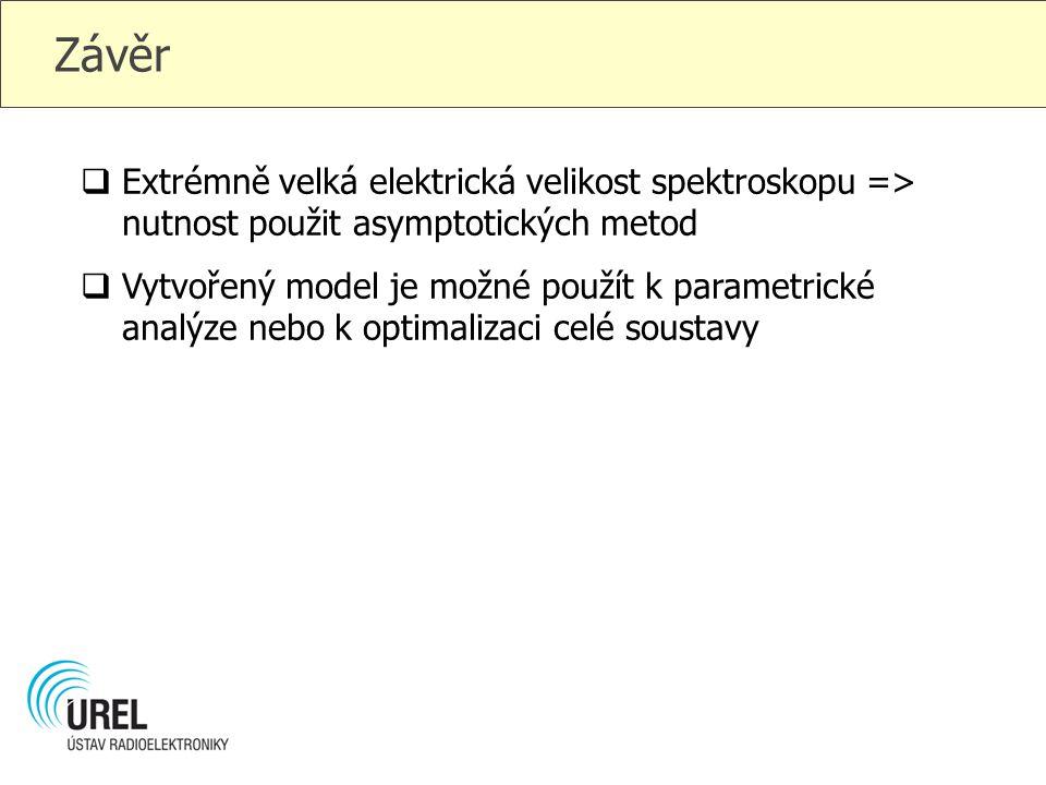 Závěr  Extrémně velká elektrická velikost spektroskopu => nutnost použit asymptotických metod  Vytvořený model je možné použít k parametrické analýz