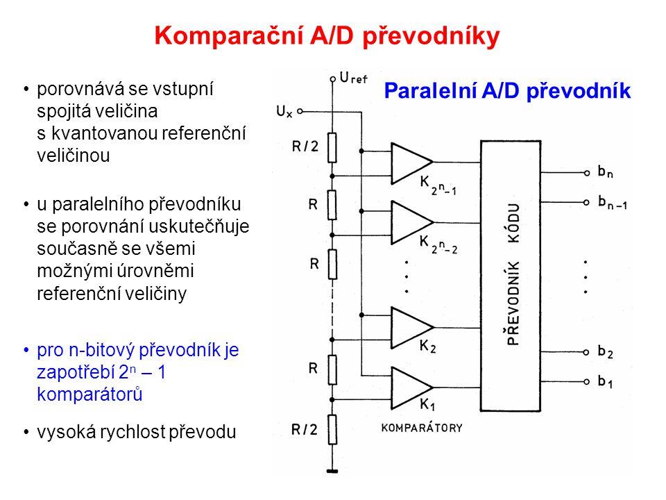 Komparační A/D převodníky porovnává se vstupní spojitá veličina s kvantovanou referenční veličinou u paralelního převodníku se porovnání uskutečňuje s