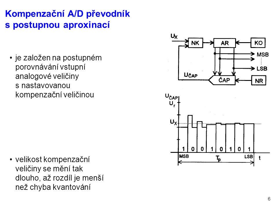6 je založen na postupném porovnávání vstupní analogové veličiny s nastavovanou kompenzační veličinou velikost kompenzační veličiny se mění tak dlouho