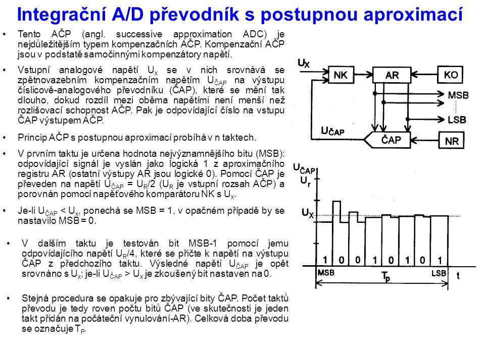 Integrační A/D převodník s postupnou aproximací Tento AČP (angl. successive approximation ADC) je nejdůležitějším typem kompenzačních AČP. Kompenzační