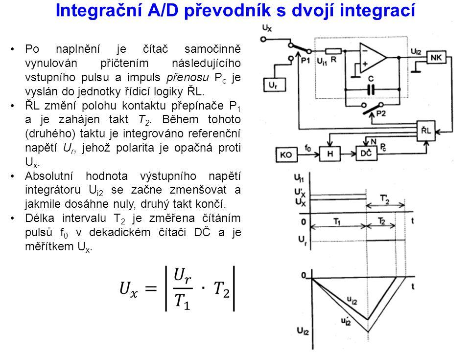 Integrační A/D převodník s dvojí integrací Po naplnění je čítač samočinně vynulován přičtením následujícího vstupního pulsu a impuls přenosu P c je vy