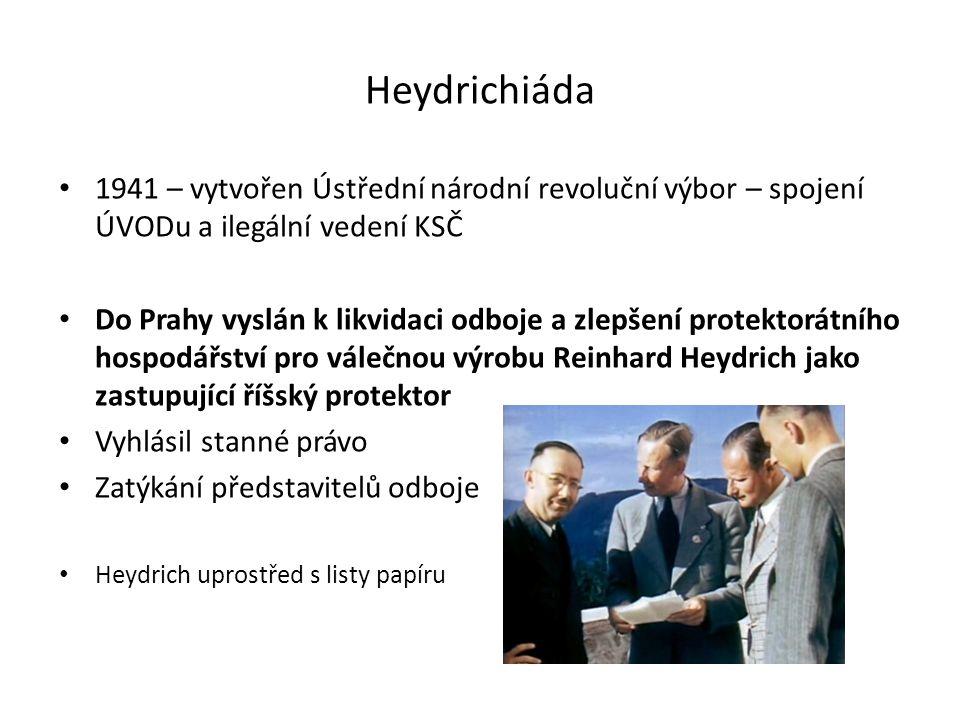 Atentát na Heydricha Československá exilová vláda v Londýně vyslala do protektorátu vycvičené parašutisty Úkolem atentát na Heydricha 27.5.1942 provedli Jan Kubiš a Josef Gabčík Vlna teroru – Heydrichiáda – jako odveta za jeho smrt Masové popravy a deportace do koncentračních táborů 10.6.