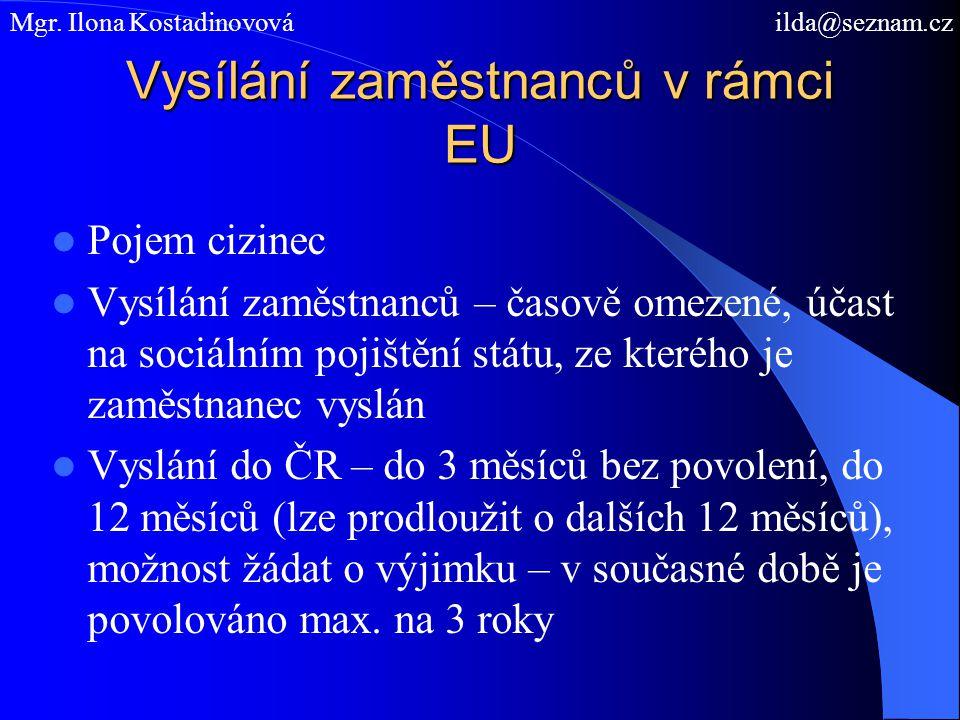 Výjimky Vyslaní pracovníci, osoby samostatně výdělečně činné – očekávané trvání práce nepřevyšuje 12 měsíců Potvrzení, že nadále podléhá právním předpisům vysílajícího státu – formulář E 101 vystavený kompetentní institucí – v ČR v oblasti nemocenského pojištění vystavuje Česká správa sociálního zabezpečení Diplomaté, osoby zaměstnané na diplomatických misích a konzulárních úřadech, státní příslušníci vysílajícího státu Mgr.