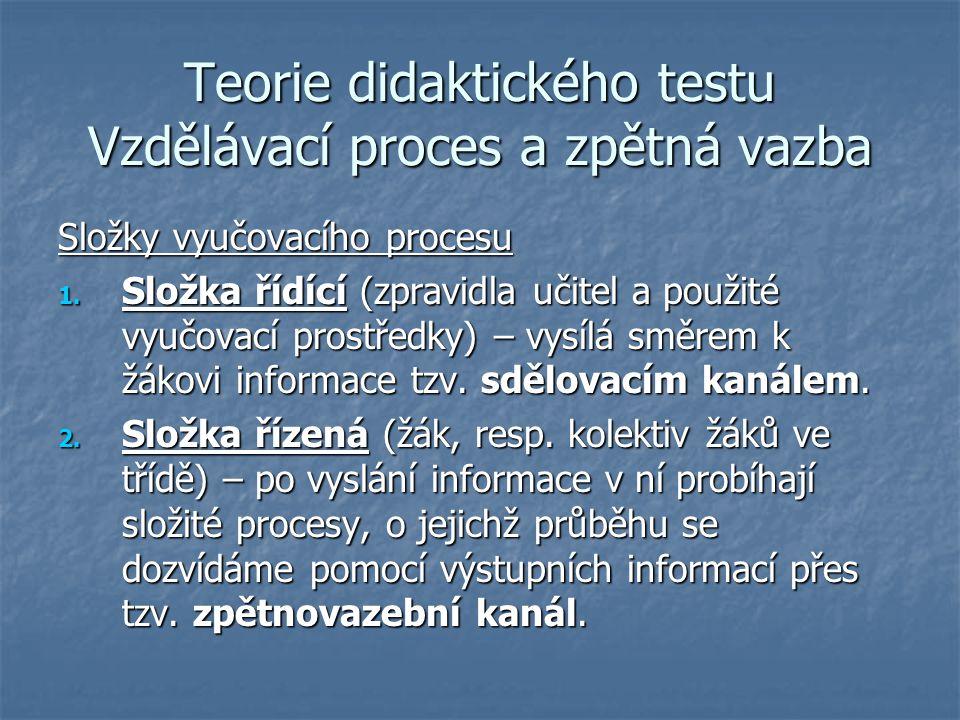 Teorie didaktického testu Vzdělávací proces a zpětná vazba Složky vyučovacího procesu 1. Složka řídící (zpravidla učitel a použité vyučovací prostředk