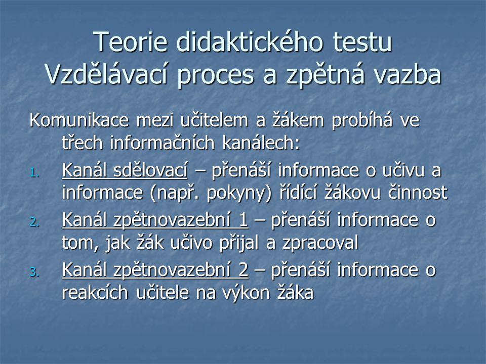 Teorie didaktického testu Vzdělávací proces a zpětná vazba Komunikace mezi učitelem a žákem probíhá ve třech informačních kanálech: 1. Kanál sdělovací