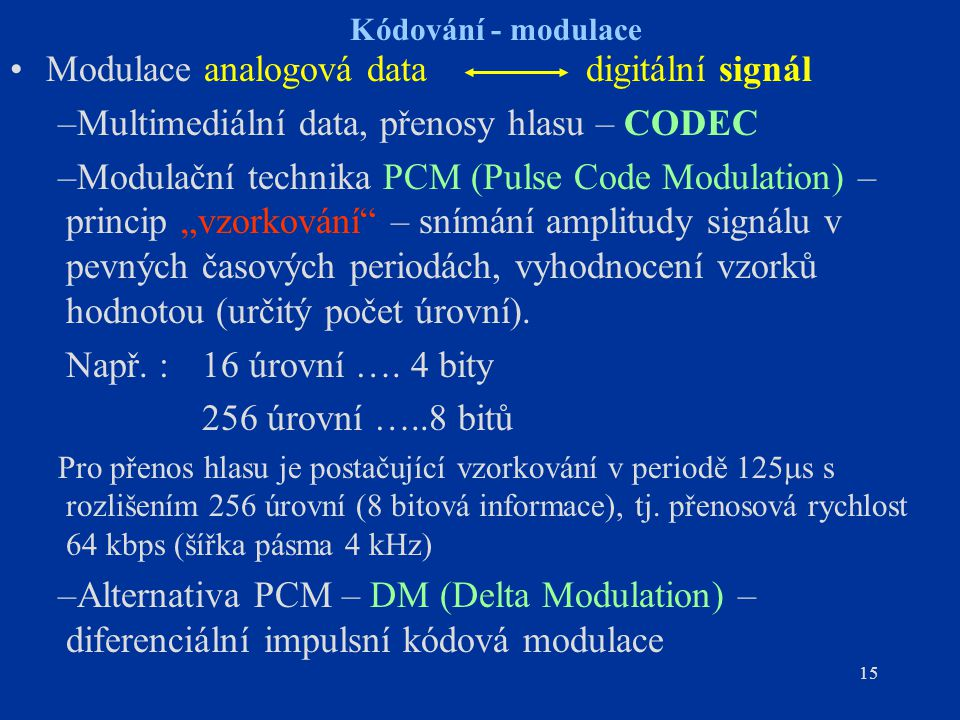 15 Kódování - modulace Modulace analogová data digitální signál –Multimediální data, přenosy hlasu – CODEC –Modulační technika PCM (Pulse Code Modulat