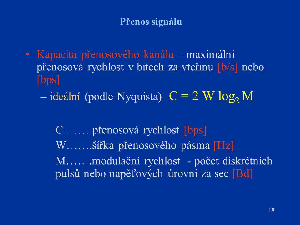 18 Přenos signálu Kapacita přenosového kanálu – maximální přenosová rychlost v bitech za vteřinu [b/s] nebo [bps] –ideální (podle Nyquista) C = 2 W lo