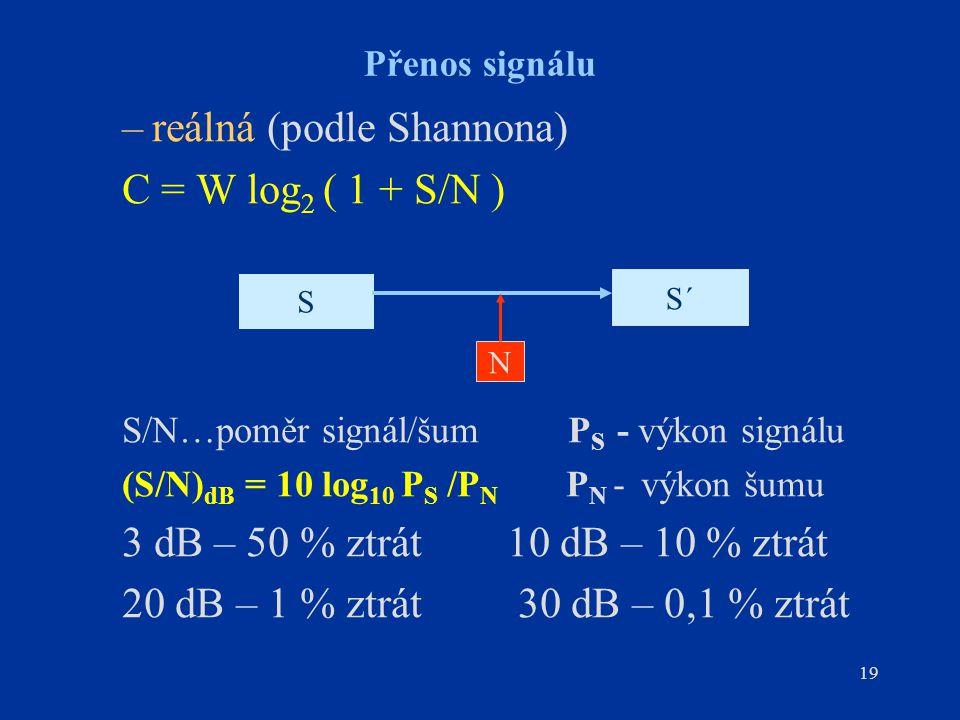 19 Přenos signálu –reálná (podle Shannona) C = W log 2 ( 1 + S/N ) S/N…poměr signál/šum P S - výkon signálu (S/N) dB = 10 log 10 P S /P N P N - výkon