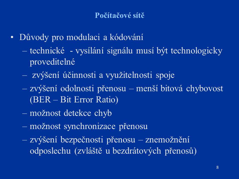 8 Počítačové sítě Důvody pro modulaci a kódování –technické - vysílání signálu musí být technologicky proveditelné – zvýšení účinnosti a využitelnosti