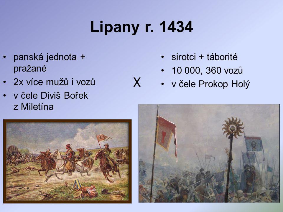 Lipany r. 1434 panská jednota + pražané 2x více mužů i vozů v čele Diviš Bořek z Miletína sirotci + táborité 10 000, 360 vozů v čele Prokop Holý X