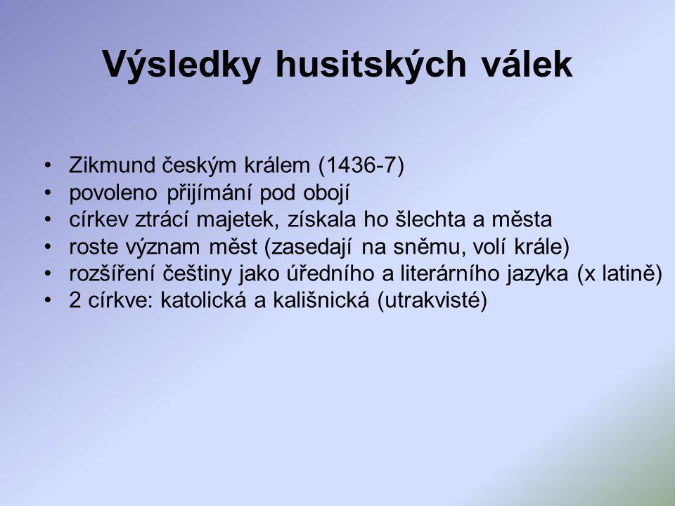 Výsledky husitských válek Zikmund českým králem (1436-7) povoleno přijímání pod obojí církev ztrácí majetek, získala ho šlechta a města roste význam m