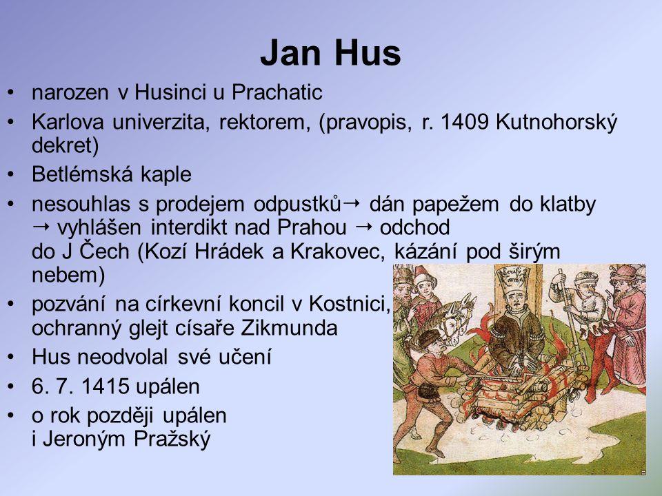 Jan Hus narozen v Husinci u Prachatic Karlova univerzita, rektorem, (pravopis, r. 1409 Kutnohorský dekret) Betlémská kaple nesouhlas s prodejem odpust