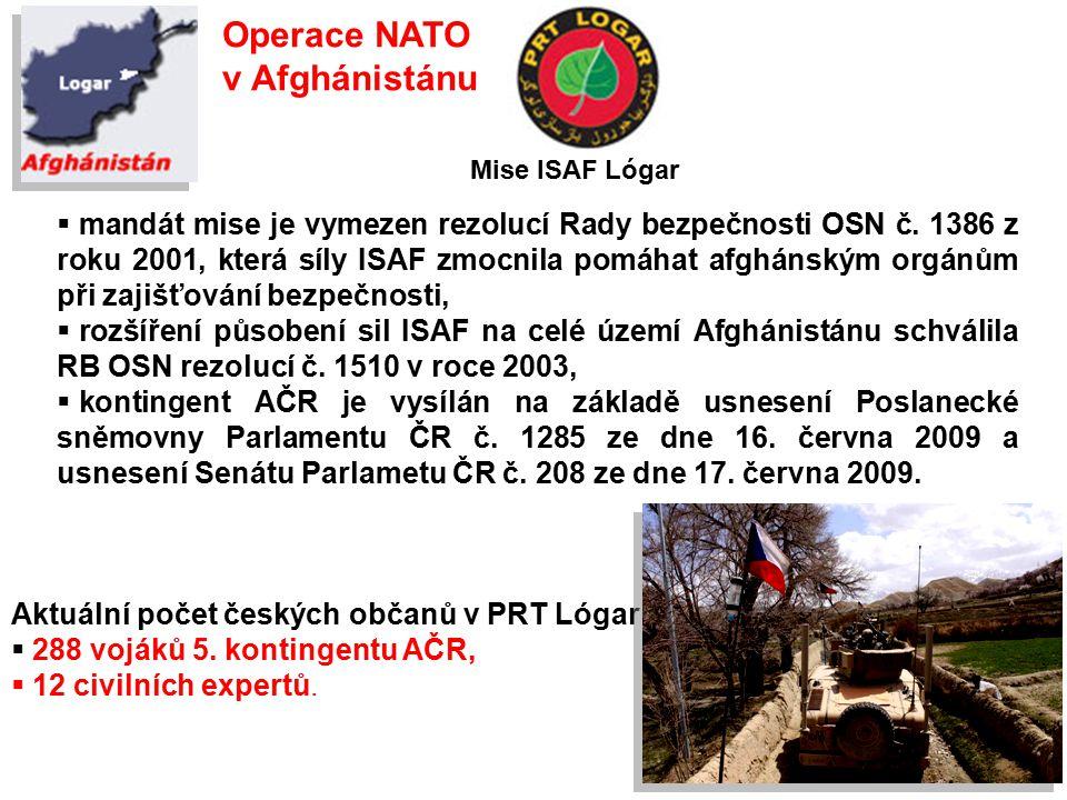 Operace NATO v Afghánistánu  mandát mise je vymezen rezolucí Rady bezpečnosti OSN č.
