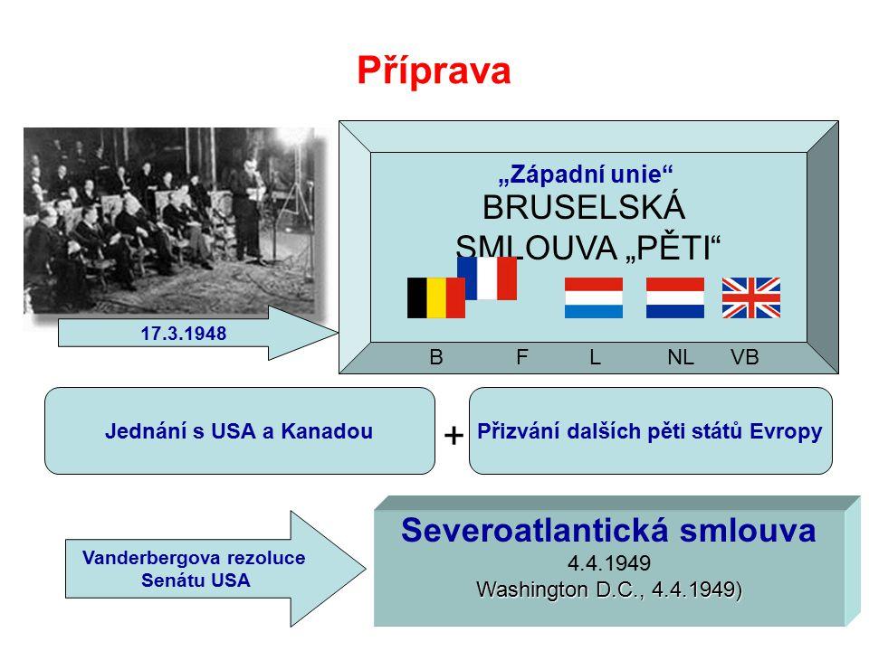 """BRUSELSKÁ SMLOUVA """"PĚTI Příprava 17.3.1948 B F L NL VB Jednání s USA a KanadouPřizvání dalších pěti států Evropy Vanderbergova rezoluce Senátu USA Severoatlantická smlouva 4.4.1949 Washington D.C., 4.4.1949) + """"Západní unie"""