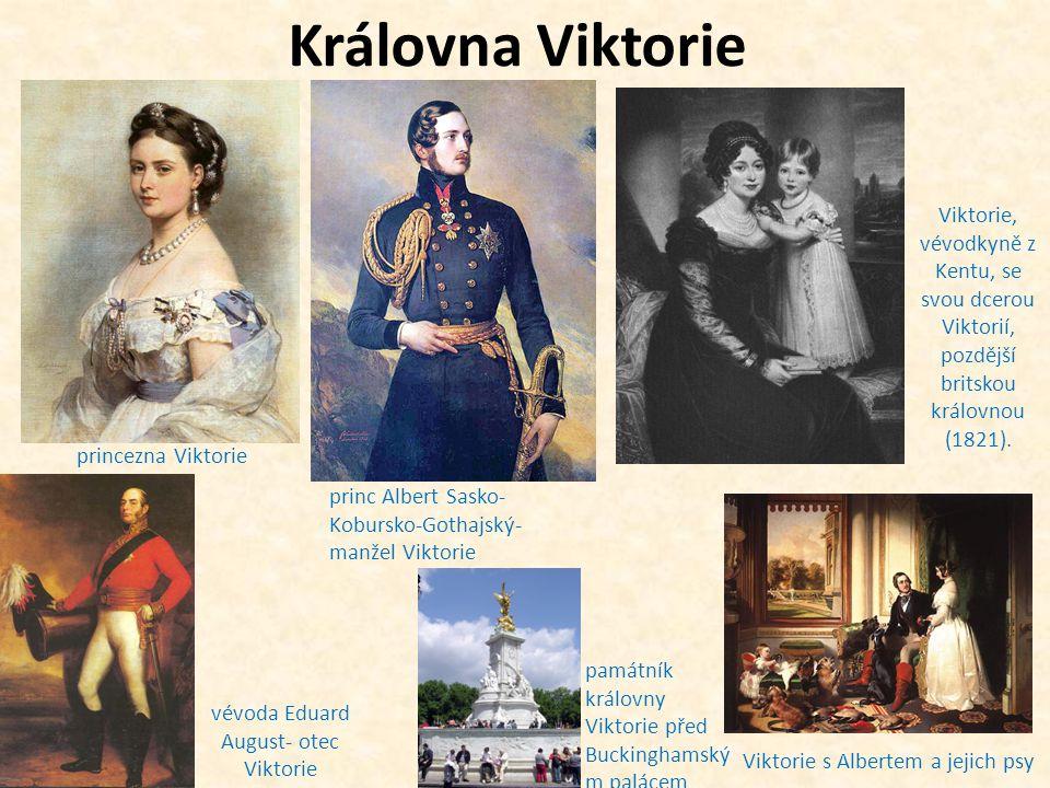 c)za její vlády nastal velký rozmach státu: -průmysl -doprava a obchod -i nadále velmi silné loďstvo královna Viktorie se svým synem Edwardem a jeho ženou princeznou Alexandrou