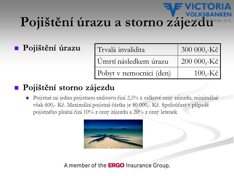 Pojištění úrazu a storno zájezdu Pojištění úrazu Pojištění storno zájezdu Pojistné na jednu pojistnou smlouvu činí 2,5% z celkové ceny zájezdu, minimálně však 600,- Kč.