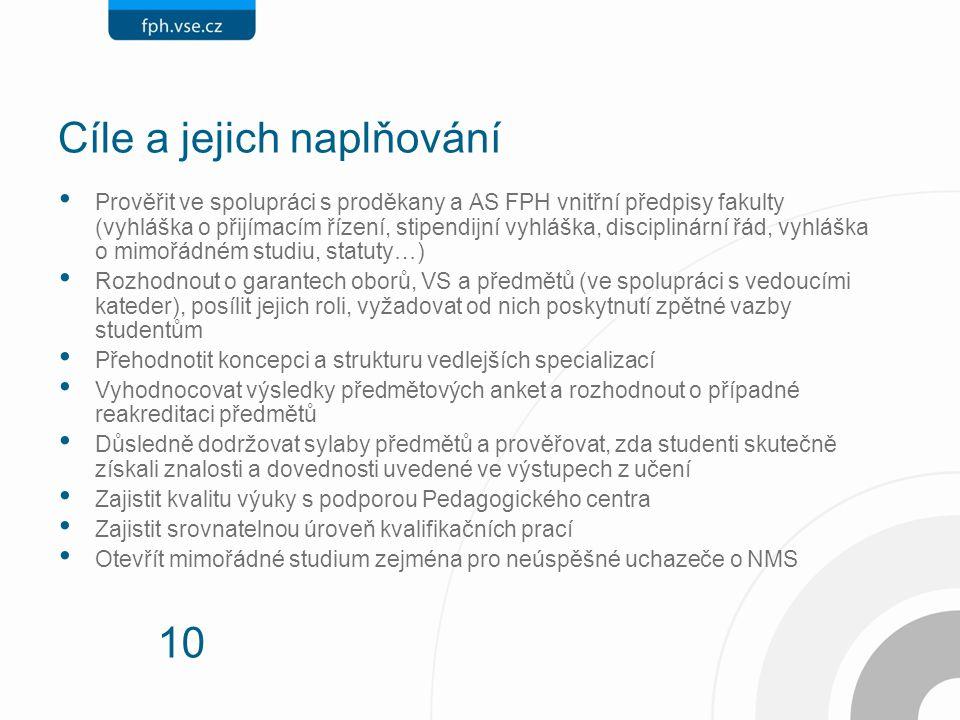 10 Cíle a jejich naplňování Prověřit ve spolupráci s proděkany a AS FPH vnitřní předpisy fakulty (vyhláška o přijímacím řízení, stipendijní vyhláška, disciplinární řád, vyhláška o mimořádném studiu, statuty…) Rozhodnout o garantech oborů, VS a předmětů (ve spolupráci s vedoucími kateder), posílit jejich roli, vyžadovat od nich poskytnutí zpětné vazby studentům Přehodnotit koncepci a strukturu vedlejších specializací Vyhodnocovat výsledky předmětových anket a rozhodnout o případné reakreditaci předmětů Důsledně dodržovat sylaby předmětů a prověřovat, zda studenti skutečně získali znalosti a dovednosti uvedené ve výstupech z učení Zajistit kvalitu výuky s podporou Pedagogického centra Zajistit srovnatelnou úroveň kvalifikačních prací Otevřít mimořádné studium zejména pro neúspěšné uchazeče o NMS