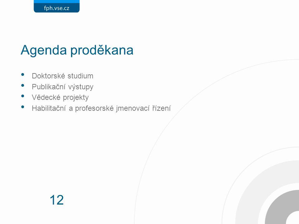 12 Agenda proděkana Doktorské studium Publikační výstupy Vědecké projekty Habilitační a profesorské jmenovací řízení