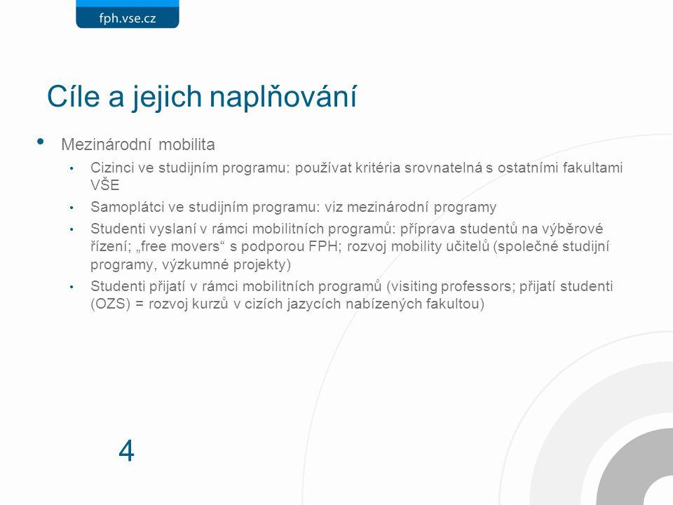 4 Cíle a jejich naplňování Mezinárodní mobilita Cizinci ve studijním programu: používat kritéria srovnatelná s ostatními fakultami VŠE Samoplátci ve s