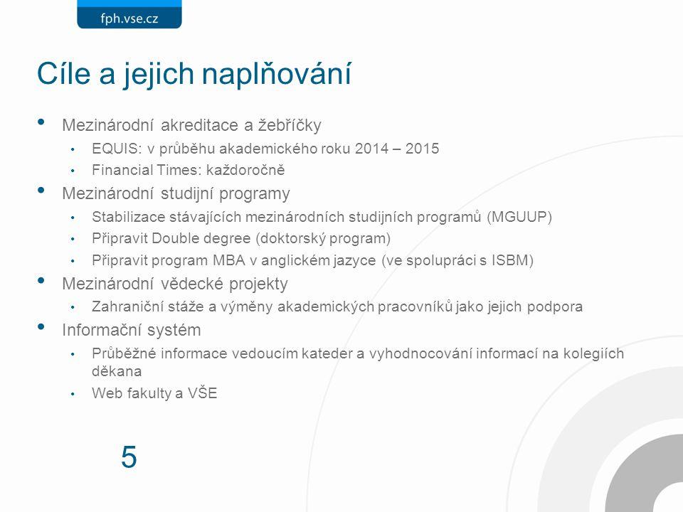 5 Cíle a jejich naplňování Mezinárodní akreditace a žebříčky EQUIS: v průběhu akademického roku 2014 – 2015 Financial Times: každoročně Mezinárodní st