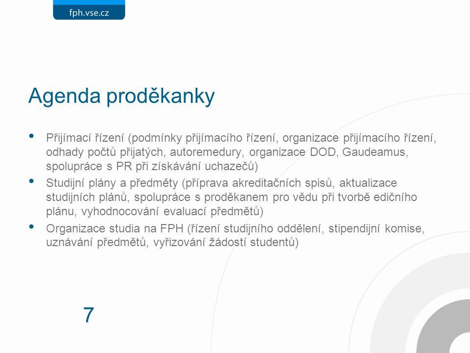 7 Agenda proděkanky Přijímací řízení (podmínky přijímacího řízení, organizace přijímacího řízení, odhady počtů přijatých, autoremedury, organizace DOD