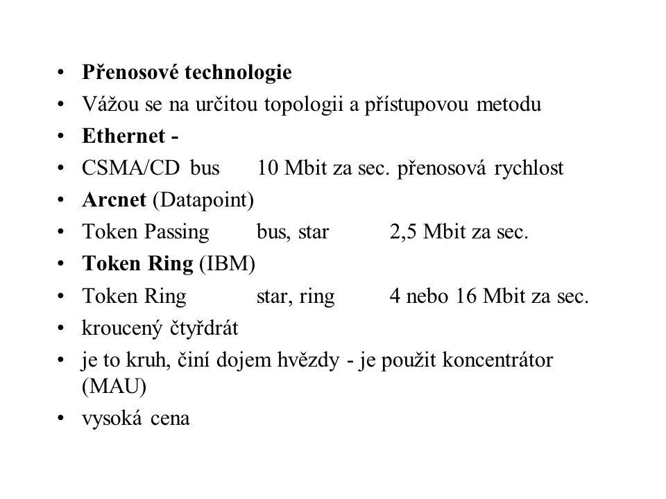Přenosové technologie Vážou se na určitou topologii a přístupovou metodu Ethernet - CSMA/CDbus10 Mbit za sec. přenosová rychlost Arcnet (Datapoint) To