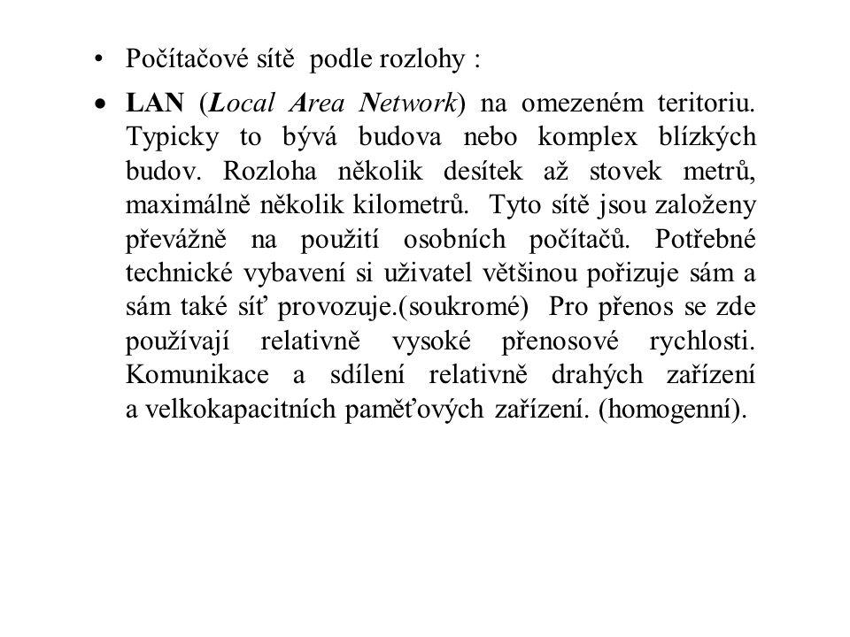 Počítačové sítě podle rozlohy :  LAN (Local Area Network) na omezeném teritoriu. Typicky to bývá budova nebo komplex blízkých budov. Rozloha několik