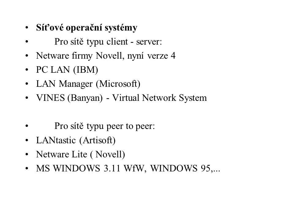 Síťové operační systémy Pro sítě typu client - server: Netware firmy Novell, nyní verze 4 PC LAN (IBM) LAN Manager (Microsoft) VINES (Banyan) - Virtua