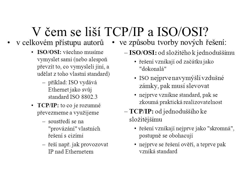 V čem se liší TCP/IP a ISO/OSI? v celkovém přístupu autorů ISO/OSI: všechno musíme vymyslet sami (nebo alespoň převzít to, co vymysleli jiní, a udělat