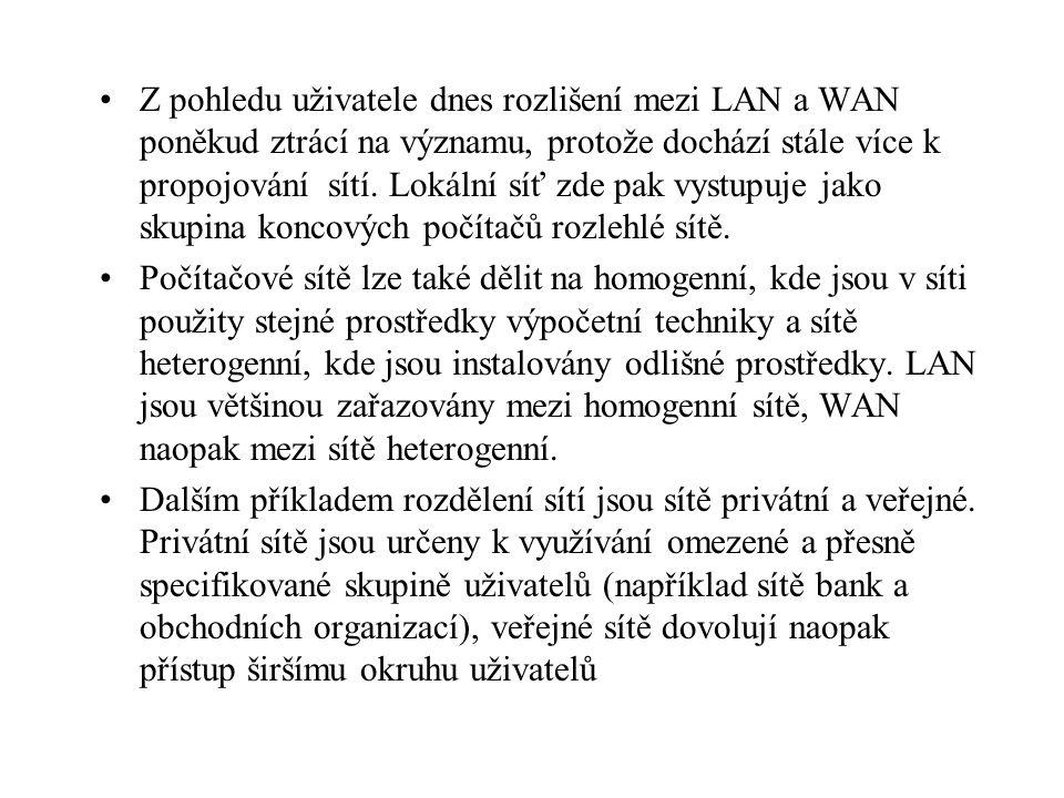 Z pohledu uživatele dnes rozlišení mezi LAN a WAN poněkud ztrácí na významu, protože dochází stále více k propojování sítí. Lokální síť zde pak vystup