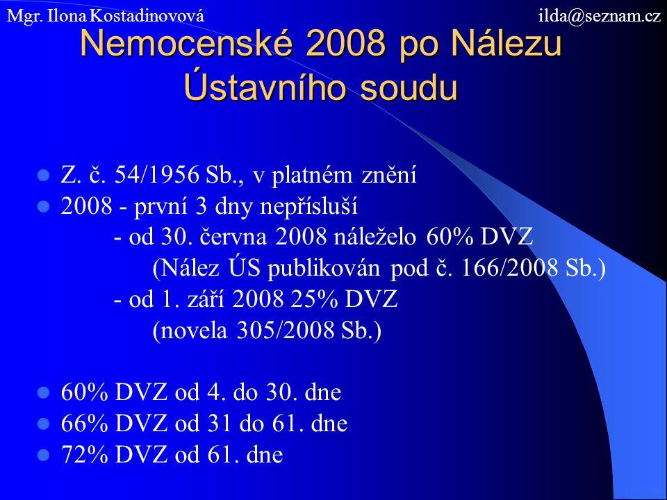 Nemocenské 2008 po Nálezu Ústavního soudu Z. č. 54/1956 Sb., v platném znění 2008 - první 3 dny nepřísluší - od 30. června 2008 náleželo 60% DVZ (Nále