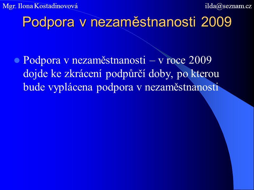 Podpora v nezaměstnanosti 2009 Podpora v nezaměstnanosti – v roce 2009 dojde ke zkrácení podpůrčí doby, po kterou bude vyplácena podpora v nezaměstnanosti Mgr.