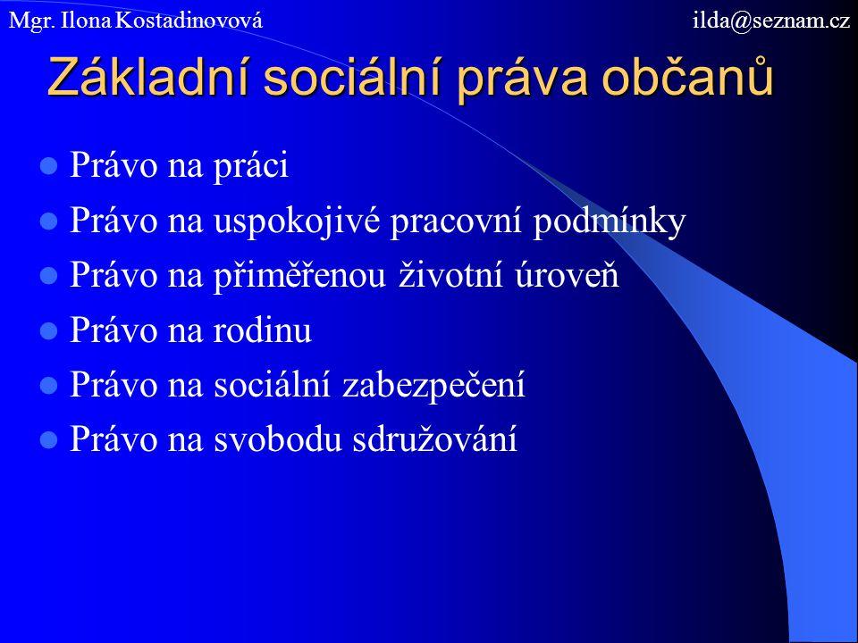 Základní sociální práva občanů Právo na práci Právo na uspokojivé pracovní podmínky Právo na přiměřenou životní úroveň Právo na rodinu Právo na sociál