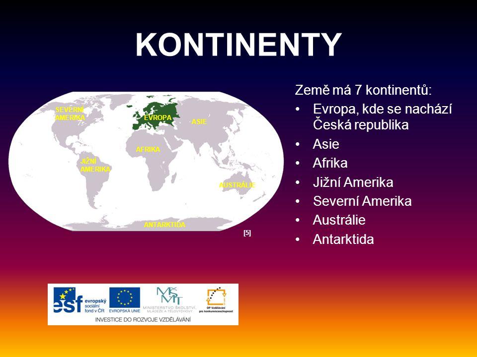 KONTINENTY Země má 7 kontinentů: Evropa, kde se nachází Česká republika Asie Afrika Jižní Amerika Severní Amerika Austrálie Antarktida EVROPA ASIE AFRIKA JIŽNÍ AMERIKA SEVERNÍ AMERIKA AUSTRÁLIE ANTARKTIDA [5][5]