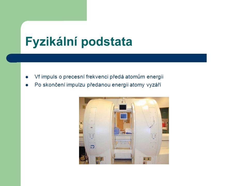 Fyzikální podstata Vf impuls o precesní frekvenci předá atomům energii Po skončení impulzu předanou energii atomy vyzáří