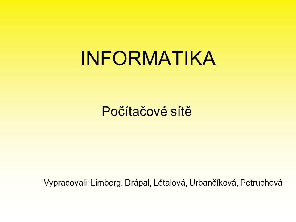 INFORMATIKA Počítačové sítě Vypracovali: Limberg, Drápal, Létalová, Urbančíková, Petruchová