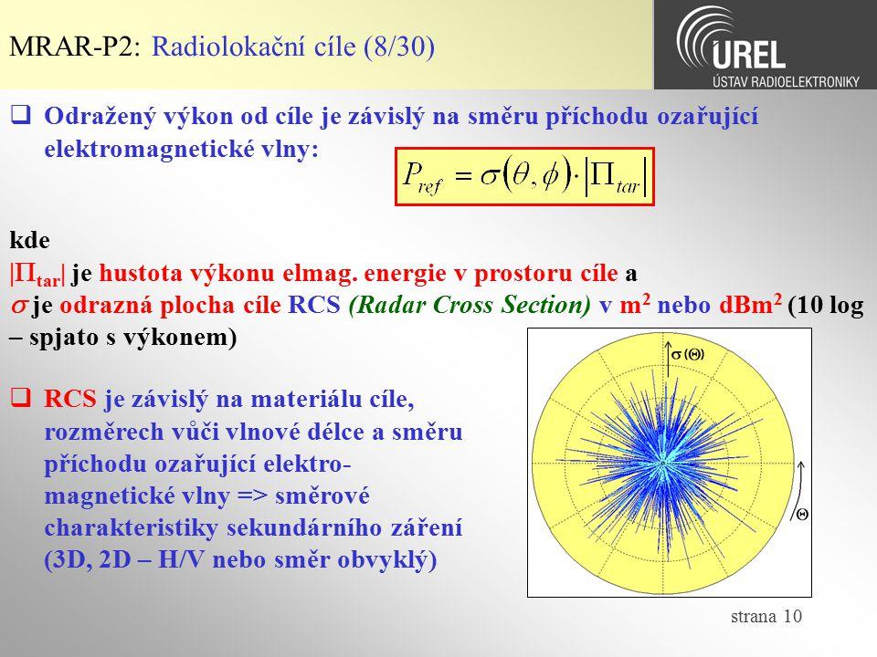 strana 10 MRAR-P2: Radiolokační cíle (8/30)  RCS je závislý na materiálu cíle, rozměrech vůči vlnové délce a směru příchodu ozařující elektro- magnet