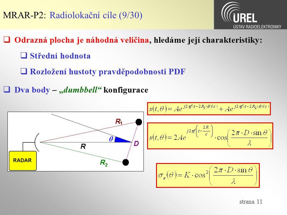 strana 11 MRAR-P2: Radiolokační cíle (9/30)  Odrazná plocha je náhodná veličina, hledáme její charakteristiky:  Střední hodnota  Rozložení hustoty