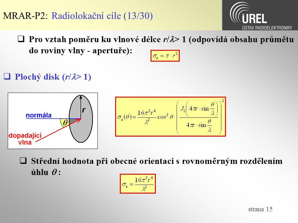strana 15 MRAR-P2: Radiolokační cíle (13/30)  Pro vztah poměru ku vlnové délce r/ > 1 (odpovídá obsahu průmětu do roviny vlny - apertuře):  Plochý d