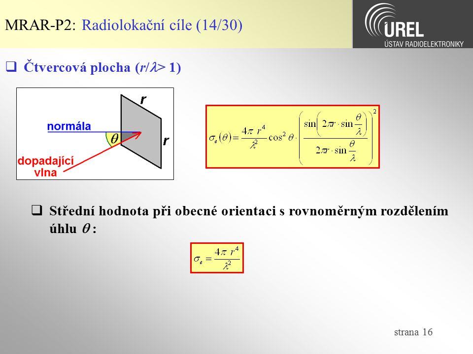 strana 16 MRAR-P2: Radiolokační cíle (14/30)  Čtvercová plocha (r/ > 1)  Střední hodnota při obecné orientaci s rovnoměrným rozdělením úhlu  :