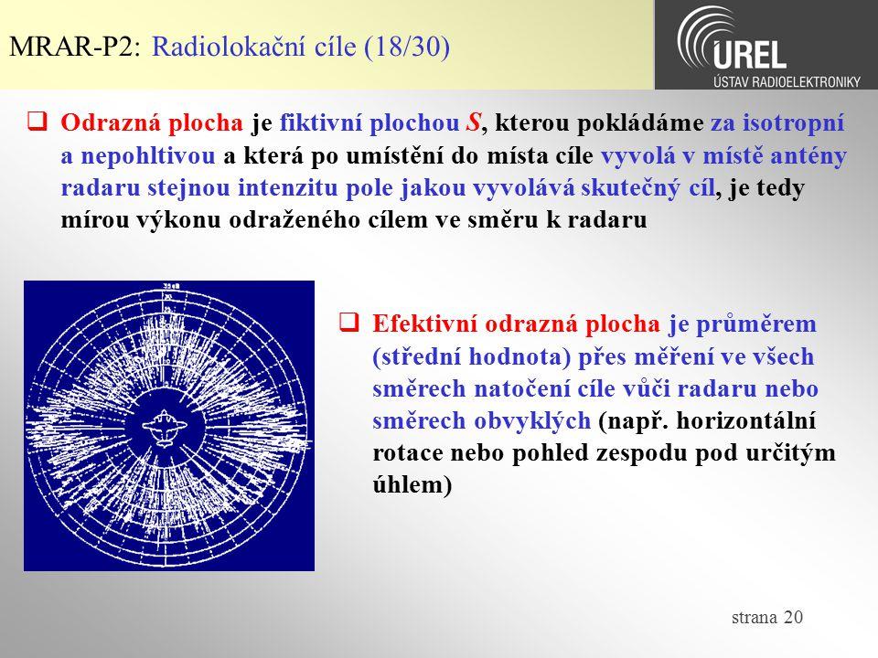 strana 20 MRAR-P2: Radiolokační cíle (18/30)  Odrazná plocha je fiktivní plochou S, kterou pokládáme za isotropní a nepohltivou a která po umístění d