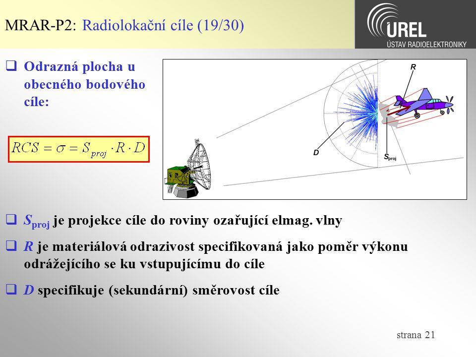 strana 21 MRAR-P2: Radiolokační cíle (19/30)  S proj je projekce cíle do roviny ozařující elmag. vlny  R je materiálová odrazivost specifikovaná jak