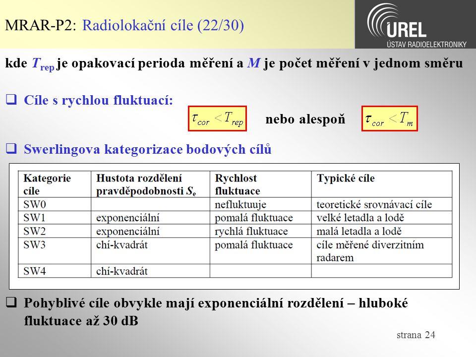 strana 24 MRAR-P2: Radiolokační cíle (22/30)  Swerlingova kategorizace bodových cílů  Pohyblivé cíle obvykle mají exponenciální rozdělení – hluboké
