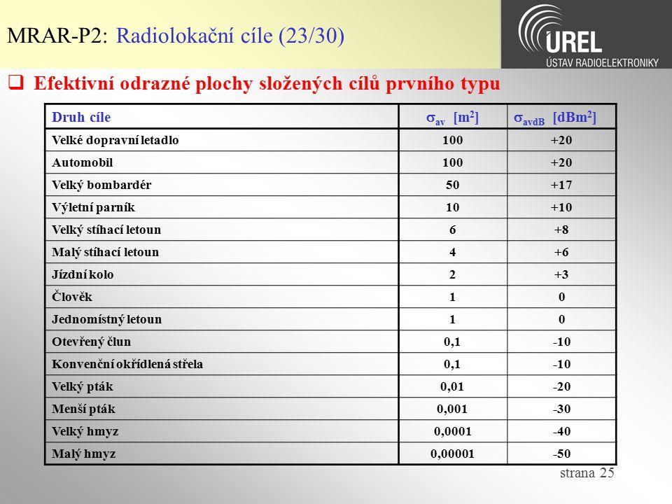 strana 25 MRAR-P2: Radiolokační cíle (23/30)  Efektivní odrazné plochy složených cílů prvního typu Druh cíle  av [m 2 ]  avdB [dBm 2 ] Velké doprav