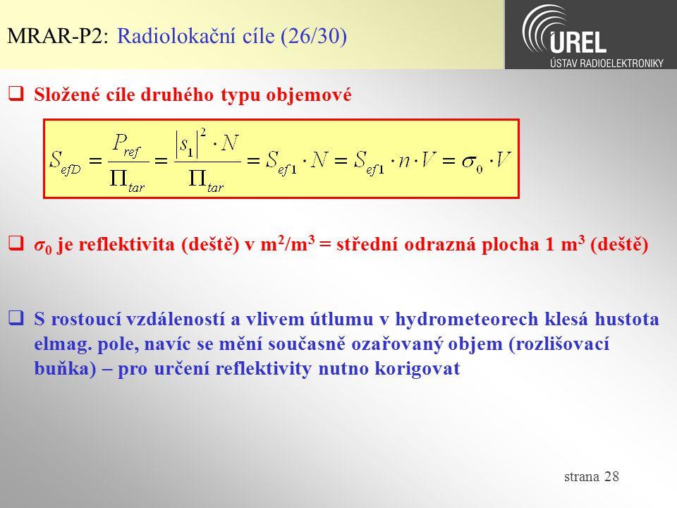 strana 28 MRAR-P2: Radiolokační cíle (26/30)  Složené cíle druhého typu objemové  σ 0 je reflektivita (deště) v m 2 /m 3 = střední odrazná plocha 1