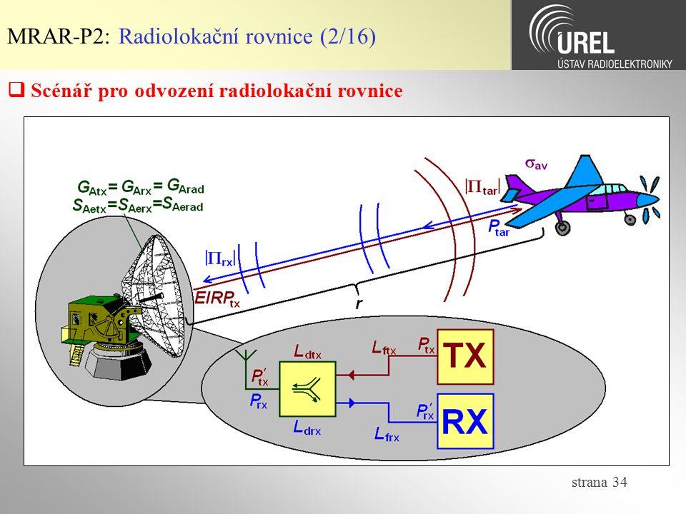 strana 34 MRAR-P2: Radiolokační rovnice (2/16)  Scénář pro odvození radiolokační rovnice