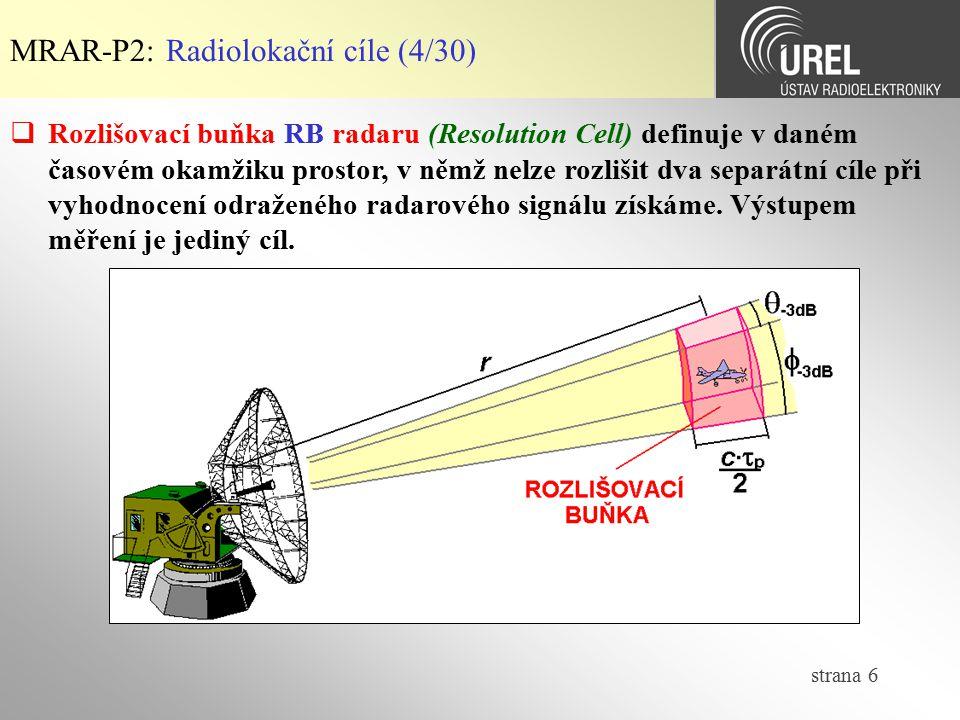 strana 6 MRAR-P2: Radiolokační cíle (4/30)  Rozlišovací buňka RB radaru (Resolution Cell) definuje v daném časovém okamžiku prostor, v němž nelze roz