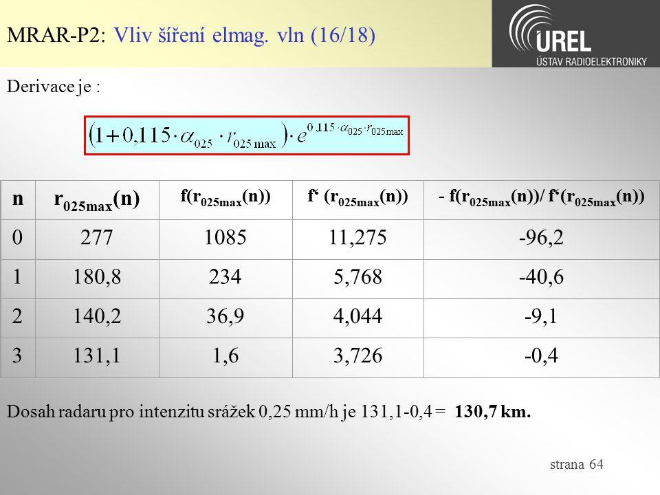 strana 64 Derivace je : MRAR-P2: Vliv šíření elmag. vln (16/18) nr 025max (n) f(r 025max (n))f' (r 025max (n))- f(r 025max (n))/ f'(r 025max (n)) 0277