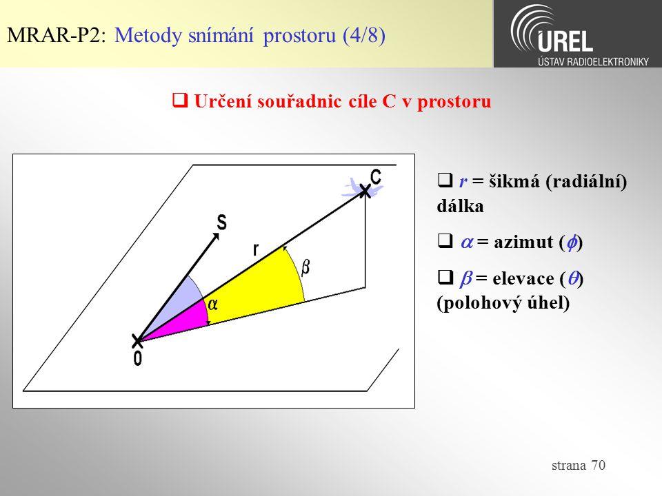 strana 70  Určení souřadnic cíle C v prostoru MRAR-P2: Metody snímání prostoru (4/8)  r = šikmá (radiální) dálka   = azimut (  )   = elevace (